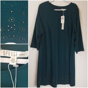 Spense Teal Dress with Metal Design on Bottom
